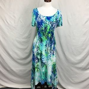 Chico's Tropical Floral Tied Back Maxi Dress Sz 0